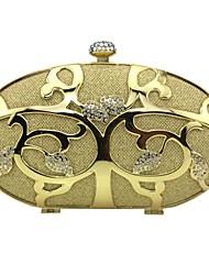 baratos -Mulheres Bolsas Liga Bolsa de Mão Detalhes em Cristal Dourado / Prata