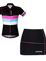 cheap -WOSAWE Short Sleeves Cycling Jersey with Shorts - Black Bike