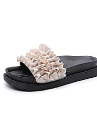 cheap -Women's Shoes Fabric Summer Comfort Sandals Walking Shoes Low Heel Round Toe Plaid for Casual White Black Green Pink