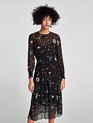 cheap -Women's Basic Blouse - Floral, Mesh Print Dress