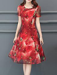 preiswerte -Damen Übergrössen Ausgehen Anspruchsvoll Schlank Hülle Kleid - Druck, Blumen Knielang Rot