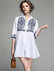 cheap -SHE IN SUN Women's Cute Basic A Line Shirt Dress - Floral Embroidered