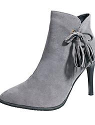 povoljno -Žene Cipele Nubuk koža Zima Modne čizme Udobne cipele Čizme Stiletto potpetica Čizme gležnjače / do gležnja za Kauzalni Crn Sive boje