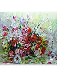 cheap -STYLEDECOR Modern Hand Painted A Bunch of Flowers Oil Painting on Canvas for Wall Art