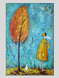 abordables -Pintura al óleo pintada a colgar Pintada a mano - Personas Floral / Botánico Modern Lona