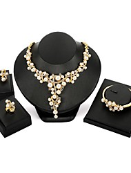 cheap -Women's Imitation Pearl / Zircon / Gold Plated Flower Jewelry Set 1 Necklace / 1 Bracelet / 1 Ring - Floral / Statement Geometric Gold