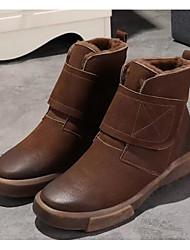 baratos -Mulheres Sapatos Pele Napa / Pele Outono / Inverno Coturnos Botas Sem Salto Botas Curtas / Ankle Preto / Cinzento / Café