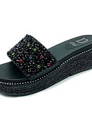 Недорогие -Жен. Обувь Блестки Лето Удобная обувь Тапочки и Шлепанцы На плоской подошве Круглый носок Стразы Белый / Черный