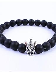 billiga -Herr Dam Kristall Obsidian Svart Matte Sträng Armband - Kristall Krona Enkel, Europeisk, Mode Armband Svart / Silver / Rosguld Till Gåva Dagligen
