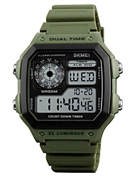 cheap -SKMEI Men's Digital Watch Alarm / Calendar / date / day / Water Resistant / Water Proof Rubber Band Casual Green