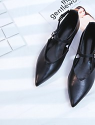 povoljno -Žene Cipele Koža Proljeće Jesen Udobne cipele Ravne cipele Ravna potpetica za Kauzalni Crn