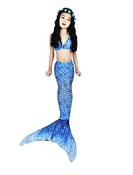 baratos -The Little Mermaid Bikini Roupa de Banho Dia Das Bruxas Carnaval Dia da Criança Festival / Celebração Trajes da Noite das Bruxas Azul