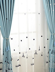 cheap -Curtains Drapes Living Room Contemporary Cartoon Cotton / Polyester Embroidery