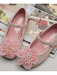 cheap -Girls' Shoes Lace Spring Ballerina / Flower Girl Shoes Flats for White / Pink