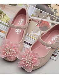 abordables -Fille Chaussures Dentelle Printemps Chaussures de Demoiselle d'Honneur Fille Ballerine Ballerines pour Décontracté Blanc Rose
