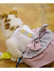 Недорогие -Собаки Коты Платья Одежда для собак Контрастных цветов Бант Синий Розовый Хлопок / полиэфир Костюм Для домашних животных Мужской Обычные