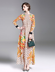 cheap -Seduction Gold House Women's Street chic Swing Dress - Geometric Print