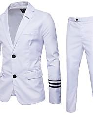 abordables -costumes Grandes Tailles Homme - Couleur Pleine Revers Cranté Coton Mince