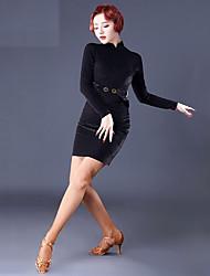 cheap -Latin Dance Dresses Women's Performance Velvet Chiffon Ruching Long Sleeves Dress