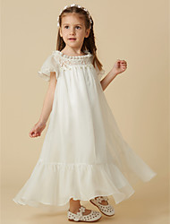 cheap -Princess Ankle Length Flower Girl Dress - Chiffon / Lace Short Sleeve Scoop Neck with Lace by LAN TING BRIDE®