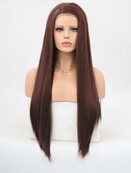 abordables -Peluca Lace Front Sintéticas Recto Parte lateral 150% Densidad del pelo humano Pelo sintético Entradas Naturales Marrón Peluca Mujer Larga Encaje Frontal / Sí