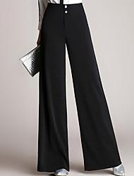 cheap -Women's Basic Cotton Bootcut / Wide Leg Pants - Solid Colored High Waist / Spring / Summer