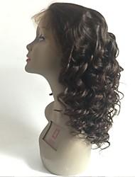 Недорогие -Не подвергавшиеся окрашиванию Полностью ленточные Парик Перуанские волосы Волнистый Черный Парик Стрижка каскад 130% Плотность волос с детскими волосами Для темнокожих женщин Черный Жен.