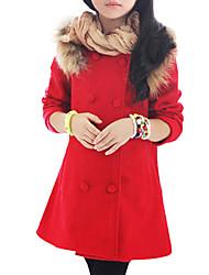preiswerte -Mädchen Daunen & Baumwoll gefüttert Alltag Patchwork Wolle Winter Frühling Herbst Langarm Zum Kleid Schleife Fuchsia Rot