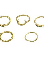 Недорогие -Жен. Ring Set Стразы 5 шт. Золотой Сплав Круглый MOON Классический Мода Повседневные Свидание Бижутерия