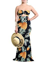 cheap -Women's Boho Sheath Dress - Fruit Cut Out Print
