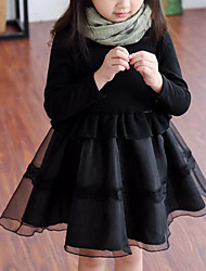 cheap -Girl's Solid Patchwork Dress, Rayon Polyester Spring Fall Long Sleeves Ruffle Black