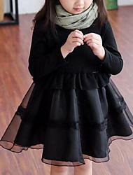 abordables -Robe Fille de Couleur Pleine Mosaïque Rayonne Polyester Printemps Automne Manches Longues Volants Noir
