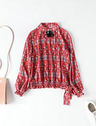 cheap -MMLJ Women's Cute Puff Sleeve Blouse - Geometric, Bow Print Crew Neck
