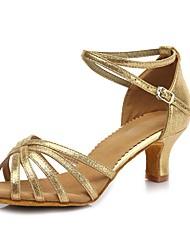 preiswerte -Damen Latin Kunst-Veloursleder Lackleder Sandalen Absätze Party Training Schnalle Blockabsatz Gold 2 - 2 3/4inch Maßfertigung