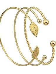 abordables -Femme Empiler Manchettes Bracelets - Forme de Feuille Rétro, Basique Bracelet Or Pour Rendez-vous / Plein Air / 3pcs