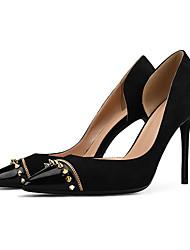 preiswerte -Damen Schuhe PU Stoff Sommer Herbst Pumps High Heels Stöckelabsatz Spitze Zehe Niete für Party & Festivität Schwarz Hautfarben
