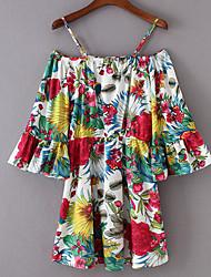 abordables -Mujer Estampado - Algodón Camiseta, Con Tirantes Floral Manga Farol / Patrones florales