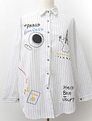 economico -Camicia Per donna Per eventi Essenziale Con stampe, A strisce Alfabetico Colletto - Cotone
