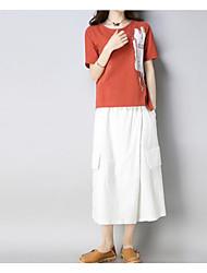 abordables -Mujer Tallas Grandes Manga de la llamarada Algodón Conjunto - Un Color, Plisado Pantalón