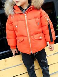 cheap -Boys' Stripe Down & Cotton Padded Winter Long Sleeves Black Orange Army Green