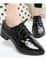 povoljno -Žene Cipele Lakirana koža Proljeće Jesen Udobne cipele Oksfordice Kockasta potpetica za Kauzalni Crn Burgundac