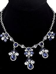 baratos -Mulheres Caído Cristal Colares Declaração  -  Casual Importante Prata Azul 45cm Colar Para Feriado Encontro