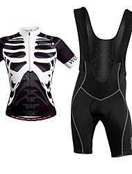 cheap -WOSAWE Short Sleeves Cycling Jersey with Bib Shorts - Black/White Bike