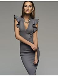 baratos -Mulheres Básico Algodão Skinny Tubinho Vestido Sólido Decote em V Profundo Altura dos Joelhos