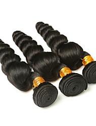 Недорогие -3 Связки Бразильские волосы Свободные волны 8A Натуральные волосы Пучок волос Накладки из натуральных волос 8-28 дюймовый Естественный цвет Ткет человеческих волос Машинное плетение