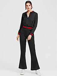cheap -Women's Work Short Hoodie - Solid Colored High Waist Pant