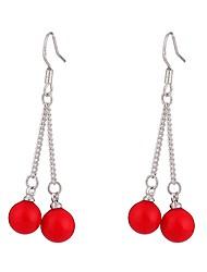 abordables -Femme Perle Boucles d'oreille goutte - Perle, S925 argent sterling Mode, énorme Rouge Pour Rendez-vous / Plein Air