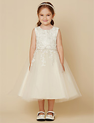 cheap -A-Line Knee Length Flower Girl Dress - Lace Tulle Sleeveless Jewel Neck with Beading Appliques by LAN TING BRIDE®