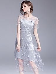 economico -Per donna sofisticato Moda città Linea A Fodero Vestito - Retato Con ricami, Tinta unita Fantasia floreale Medio
