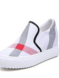 abordables -Femme Chaussures Toile Printemps Automne Confort Mocassins et Chaussons+D6148 Hauteur de semelle compensée Bout rond pour Blanc Noir